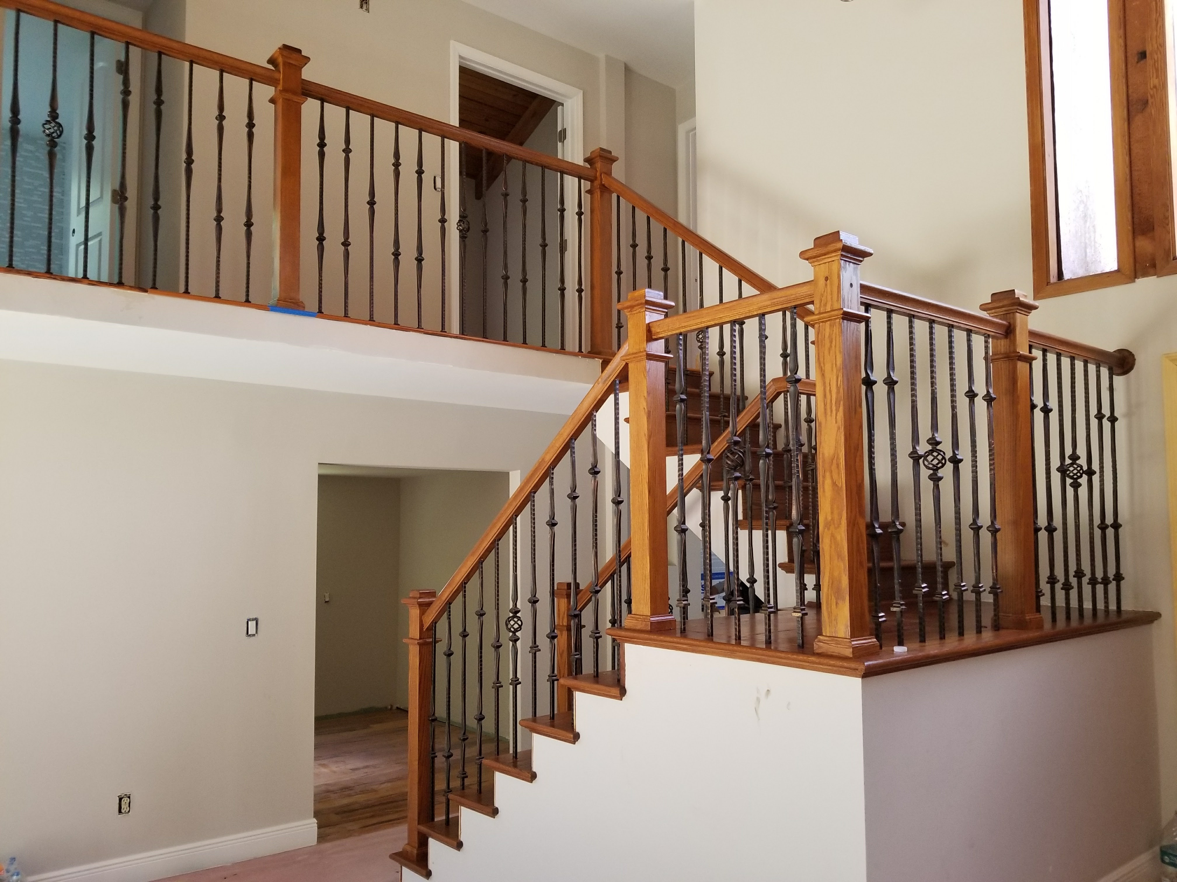 Wood And Iron Gallery Stairs Glass Railings