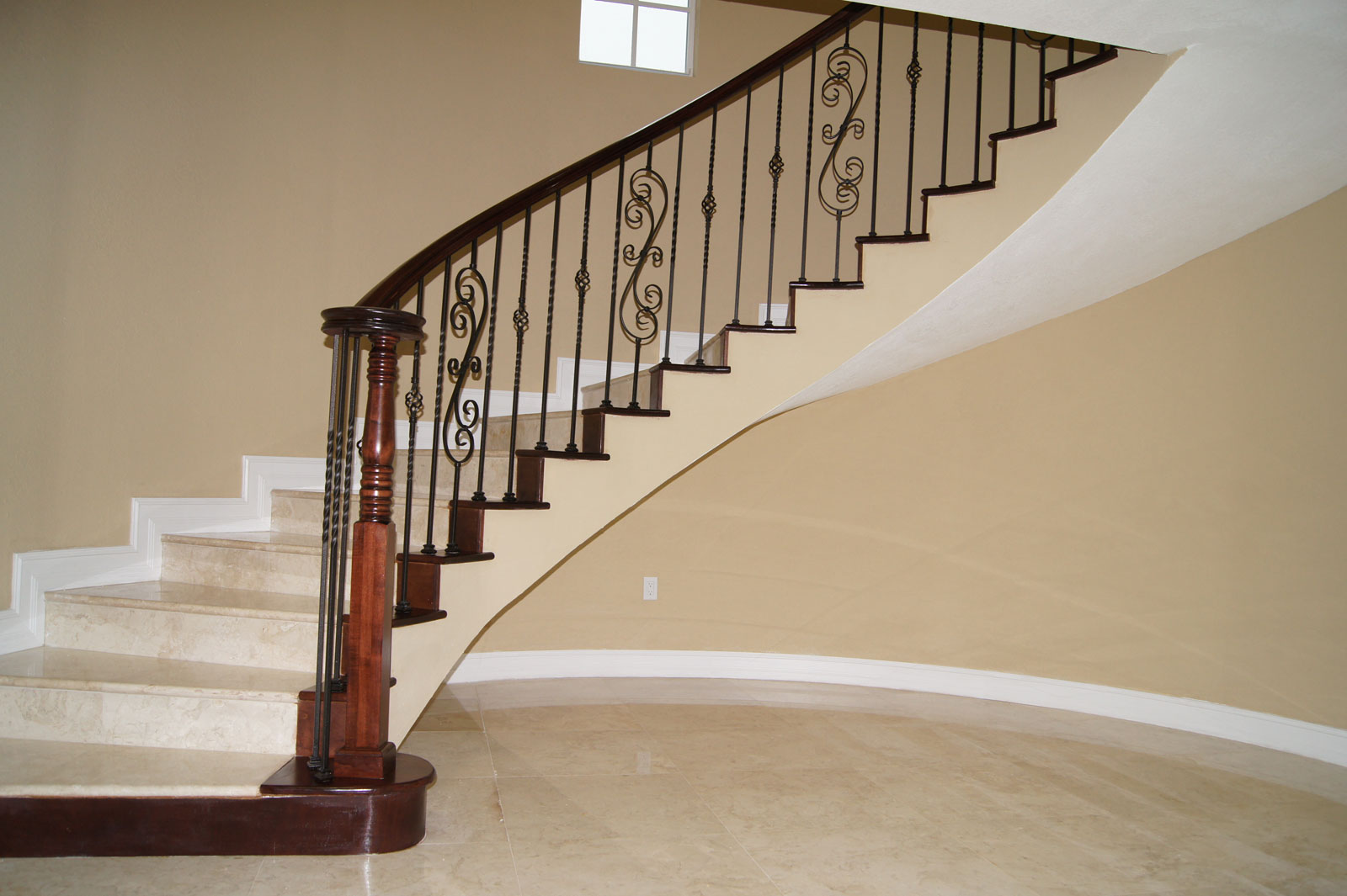 Wood Iron Railings : Iron and wood gallery stairs glass railings