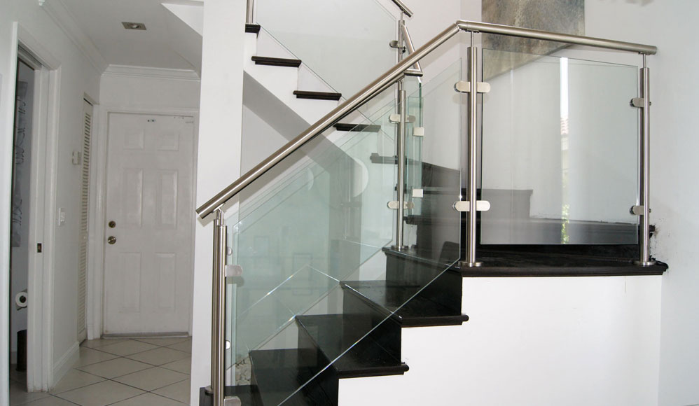 Stairs glass railings stainless railings wood for Modern stairs tiles design building work latest technology